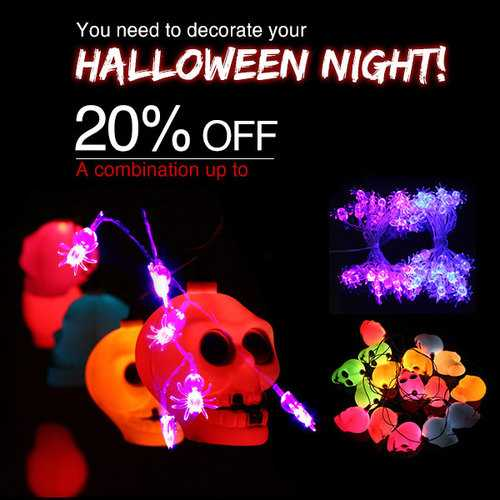 16 LED Colorful Skull String Light Lamp & 20 Purple LED Spider Light Halloween Party Decoration