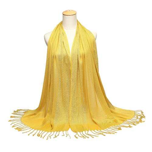 180*60CM Women Ladies Glitter Shine Cotton Blend Tassel Scarf Stole Shawl Wrap Shimmer Scarves