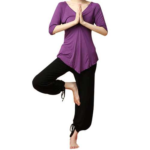 Women Sports Fitness Yoga Set Plus Size Running Clothing Suit Bunched Stitching Sportswear