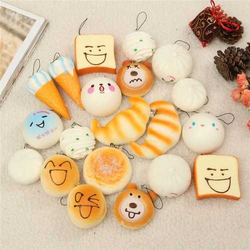 10PCS Medium 7CM Random Squishy Toy Soft Panda/Bread/Cake/Buns/Macaroon Phone Straps