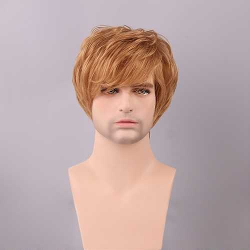Dark Ash Blonde Men Short Human Hair Wig Side Bang Male Mono Top Virgin Remy Capless
