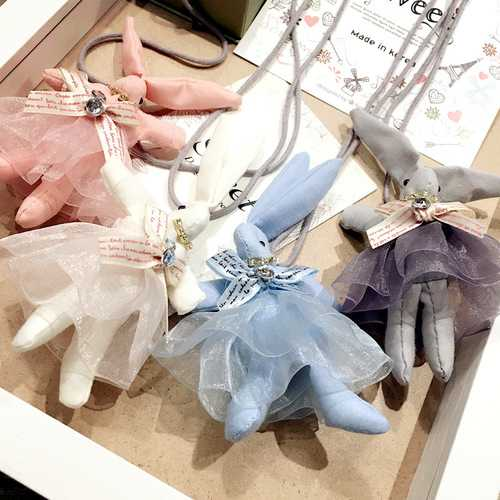 Cute Rabbit Lace Rhinestone Christmas Gifts Sweater Necklaces For Kids