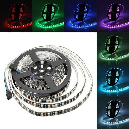 5M 72W Black PCB SMD 5050 Waterproof IP65 RGB 300 LED Strip Light Lamp For Decor Lighting DC 12V
