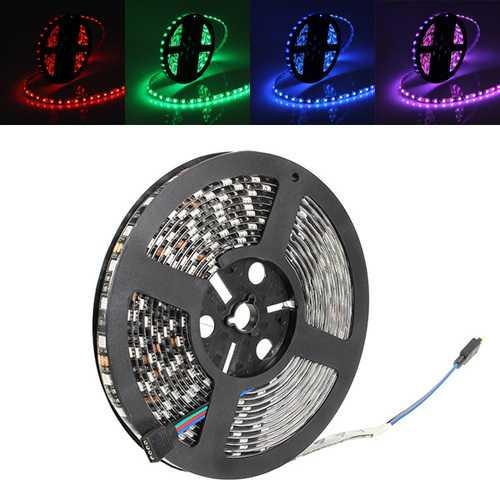 5M 72W Black PCB SMD 5050 Non-Waterproof RGB 300 LED Strip Light Lamp For Decor Lighting DC 12V