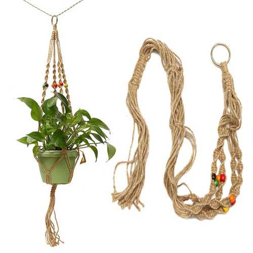 42 Inch Colour Bead Flower Pot Plant Hanger Macrame Jute Rope Garden Decorative Cord with Hook