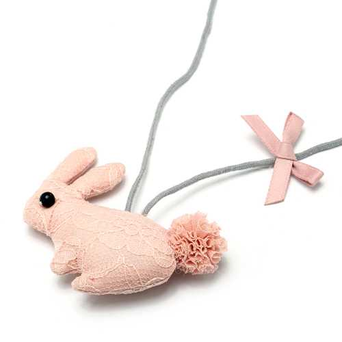 Cute Lace Handmade Cotton Rabbit Necklaces For Kids