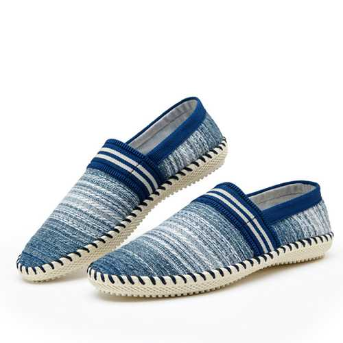 Casual Slip On Linen Cloth Breathable Soft Sole Flat Shoes Stripe Driving Shoes
