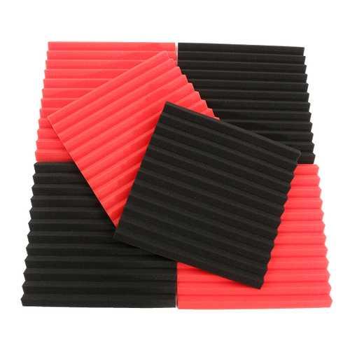 6Pcs 30x30x2.5cm Acoustic Soundproofing Sound-Absorbing Noise Foam Tiles Black & Red