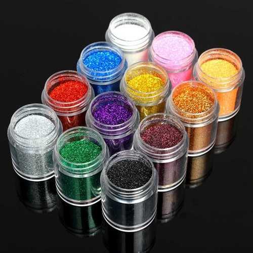 12 Colors Holo Nail Art Powder Shiny Glitter Dust Slice Tips Holographic Decoration