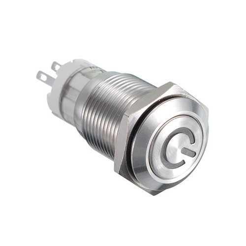 16MM 6V/12V/24V/110V/220V Waterproof Self Reset Stainless Steel Metal Button Switch With White LED Light