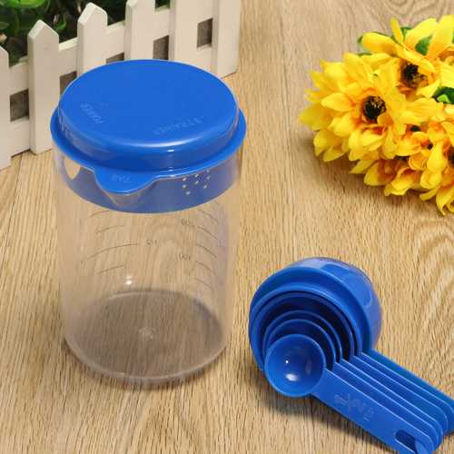 500ML Plastic Craft Tea Spoon Measuring Cup with Spoons Set for Lab