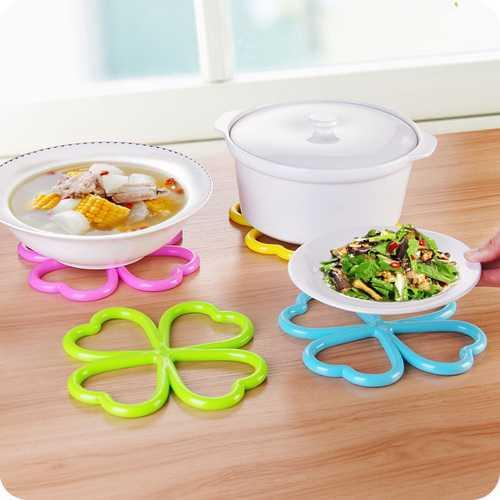 New Heart-shaped Flower Shape PVC Anti-Slip Table Insulation Mat Heat Pad Kitchen Placemats