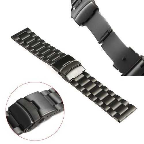 Black Metal Stainless Steel Watch Wrist Band Strap for Garmin Fenix 3/HR
