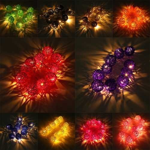 10 LED Rattan Ball String Light Home Garden Fairy Lamp Wedding Party Xmas 220V