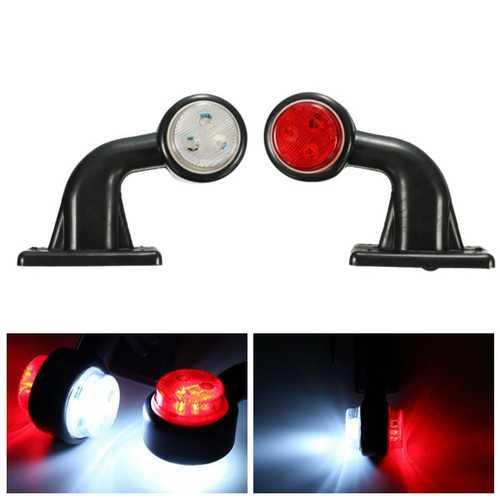 2pcs 5W 10-30V LED Side Maker Light Stalk Indicator Lamp for Truck Trailer Lorry Van