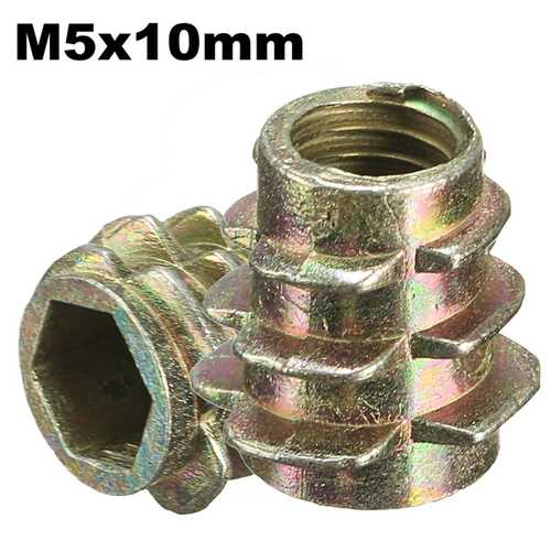 5Pcs M5x10mm Hex Drive Screw In Threaded Insert For Wood Type E