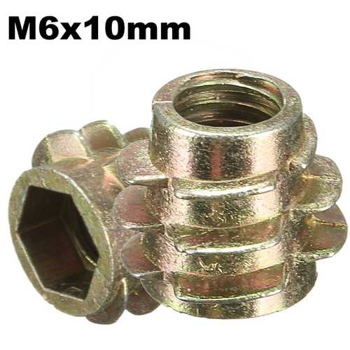 5Pcs M6x10mm Hex Drive Screw In Threaded Insert For Wood Type E
