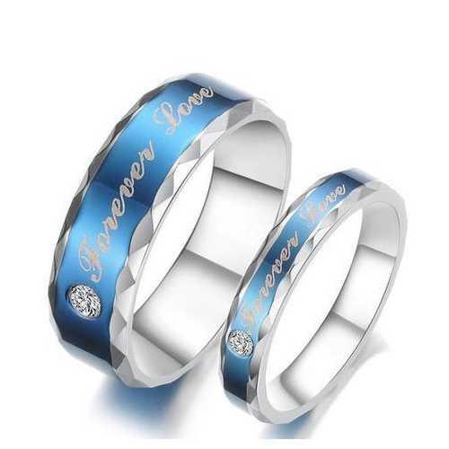 Forever Love Words Women Men Ring Stainless Steel Blue Finger Ring For Couple