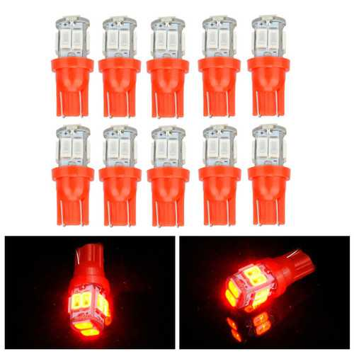 10pcs T10 5630 10SMD LED Side Maker Light Car Door Lamp Interior Bulb Red Lighting