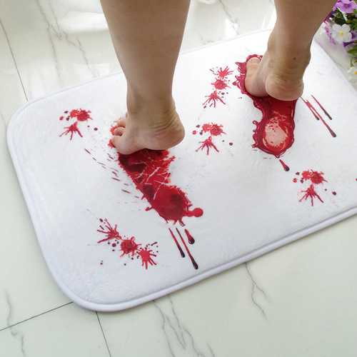 Halloween Terror Blood Footprints Non-slip Floor Mat Bathroom Kitchen Bedroom Doormat Carpet Decor