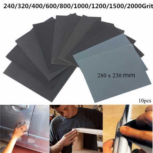 10pcs 230mm x 280mm Silicon Carbide Waterproof Sandpaper 240-2000 Grit Sanding Sheets