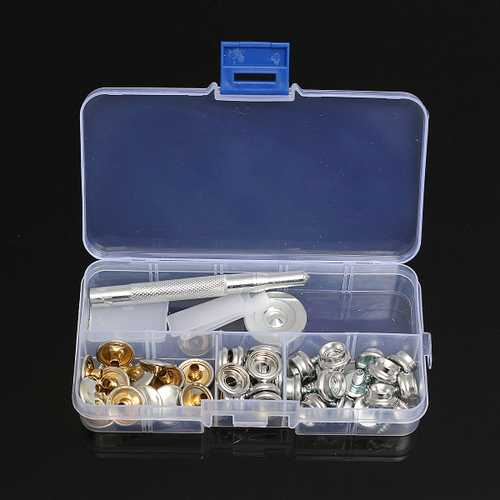 15Set 10MM Snap Fastener Screws Kit With Attaching Tool For Boat Marine Canvas