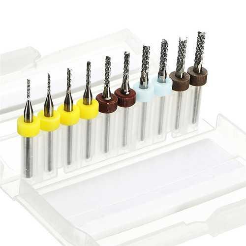 10pcs 1/1.5/2/2.5/3mm Carbide End Mill Cutter PCB Drill Bit