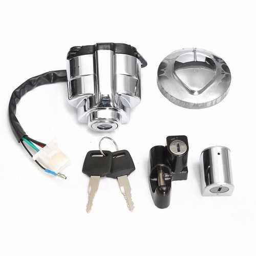 Ignition Gas Cap Helmet Steel Ring Lock Set For Honda Shadow VLX VT 400 600 750