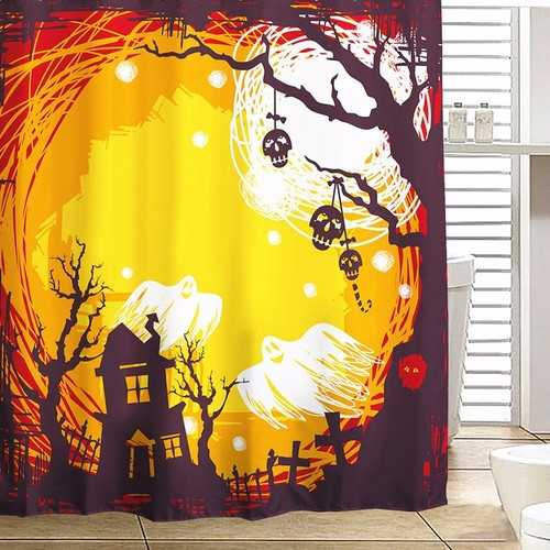 180x180cm Halloween Flying Ghost Polyester Shower Curtain Bathroom Decor with 12 Hooks