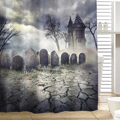180x180cm Halloween Haunted House Polyester Shower Curtain Bathroom Decor with 12 Hooks