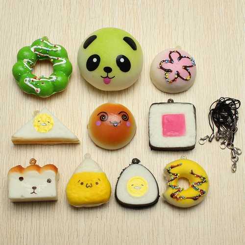 10Pcs Random Squishy Soft Sushi/Panda/Bread/Cake/Buns Phone Straps