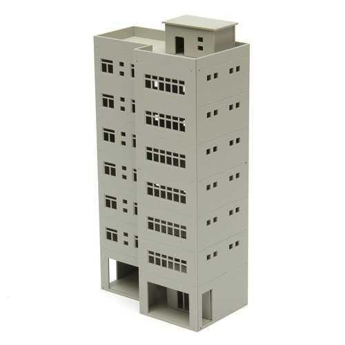 1/87 Light Grey Outland Models Modern Tall Business Office Building For Sandbox