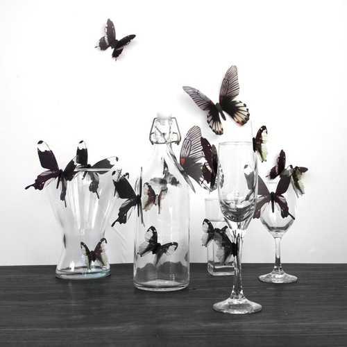 18Pcs 3D Transparent Butterfly Wall Stickers PVC European American Style Color Paste Decor