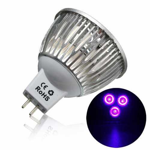 3W MR16 LED Ultraviolet Color Purple Light Flashlight Bulb Lamp Torch AC/DC 12V
