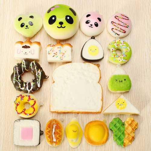 18PCS Random Squishy Panda Sandwich Toasts Buns Donuts Squishy Soft Cell Phone Straps