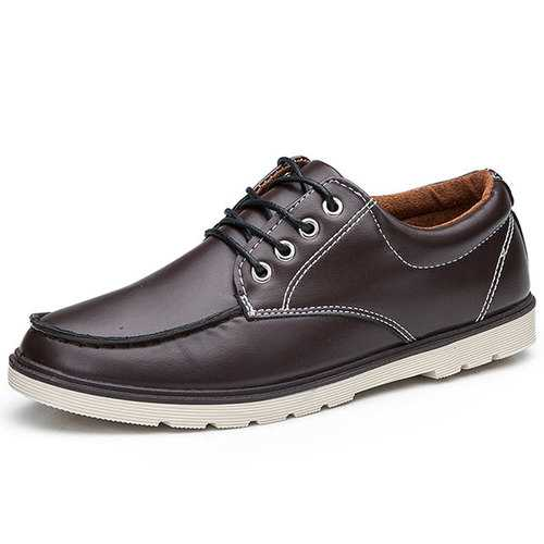 Casual Shoes Men Outdoor Fashion Lace Up Round Toe Leather Flat Oxfords