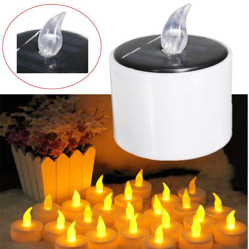 Solar Powered LED Candle Battery Wedding Decor Romantic Warm White Tea Light
