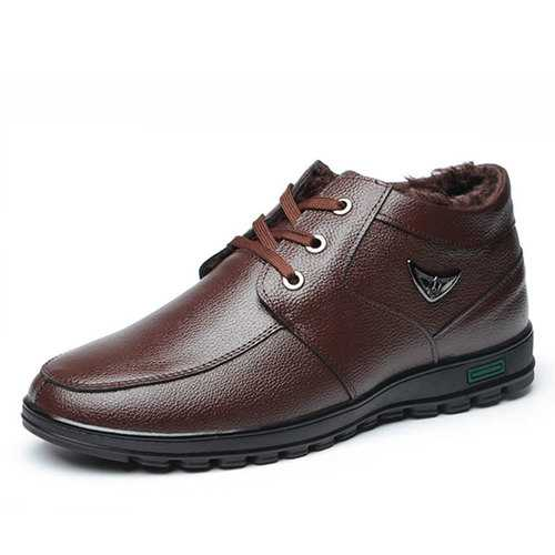 Men Casual Business Fur Lining Genuine Leather Ankle Boots