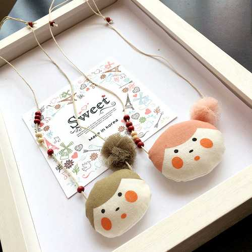 Handmade Beads Cotton Cute Doll Pendant Necklaces For Kids