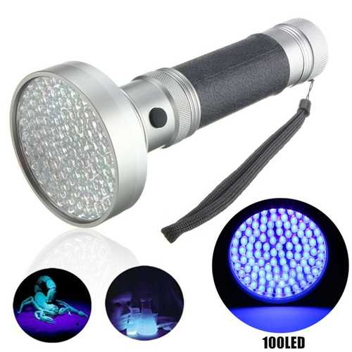 100xLED UV Blacklight Scorpion Detector Ultra Violet LED Flashlight AA
