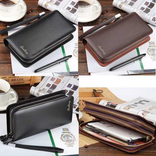 Multifunctional PU Leather Zipper Safety Rope Card Bag Clutch Long Purse Wallet Handbag Phone Bag