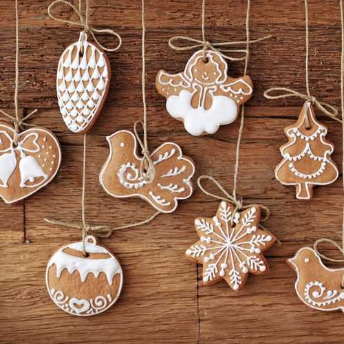 11Pcs Cartoon Animal Snowflake Biscuits Hanging Christmas Tree Ornament Handmade Decorations
