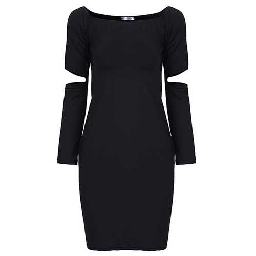 Sexy Off Shoulder Long Sleeve Solid Package Hip Mini Dress