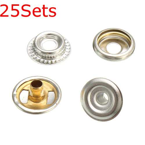 25Sets Stainless Steel Fastener Snap Press Stud Button Marine Set 100Pcs