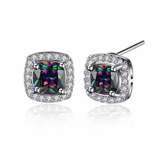 INALIS Sweet Zircon Ear Stud Rhinestone Platinum Earrings For Women