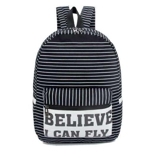 Teenager Nylon Stripe Capacity Backpack Casual Light Weight Waterproof School Bag