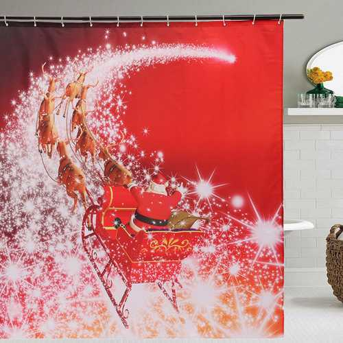 180x180cm Christmas Santa Claus Waterproof Shower Curtain Bathroom Decor with 12 Hooks