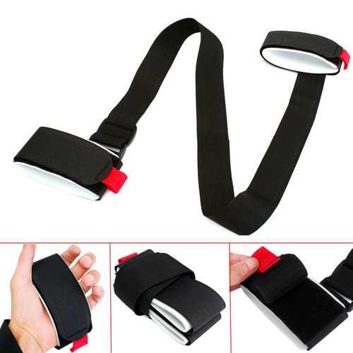 Black Nylon Adjustable Portable Double Board Ski Bandage Double Plate Strap