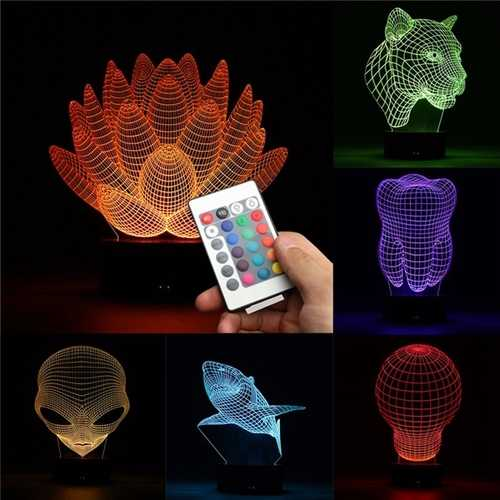 3D Color Changing LED Desk Table Lamp Remote Acrylic USB Night Light Christmas Gift