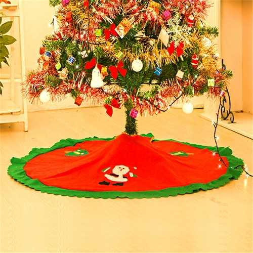 90cm Red Christmas Tree Skirt Xmas Santa Claus Tree Skirt Christmas Decoration Supplies  Ornament